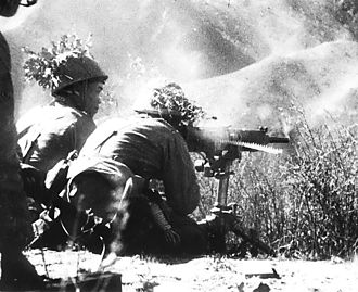 Japanese Burma Area Army - Image: Japanese troops firing a heavy machine gun