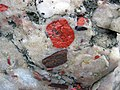 Jasper pebbles in quartzite (Lorrain Formation, Paleoproterozoic, ~2.3 Ga; Ottertail Lake Northeast roadcut, near Bruce Mines, Ontario, Canada) 29 (33831858448).jpg