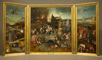 Triptych of the Temptation of St. Anthony - Image: Jeroen Bosch (ca. 1450 1516) De verzoeking van de heilige Antonius (ca.1500) Lissabon Museu Nacional de Arte Antiga 19 10 2010 16 21 31