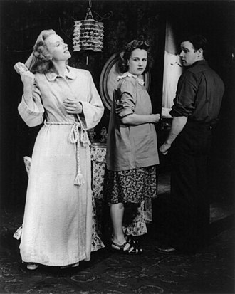Blanche DuBois - Jessica Tandy (left, with Kim Hunter and Marlon Brando) created the role of Blanche DuBois in A Streetcar Named Desire (1947) and received a Tony Award