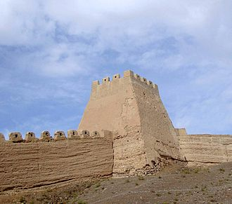 Jiayu Pass - A corner tower, no restoration work done on this section