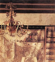 Is that a double eagle on top of the chandelier? Johannes Vermeer - The Art of Painting (detail) - WGA24678.jpg