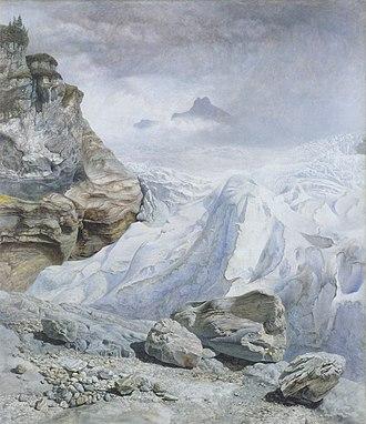 "Schattenhalb - 1856 painting, ""The glacier of Rosenlaui"" by John Brett (1831–1902)"