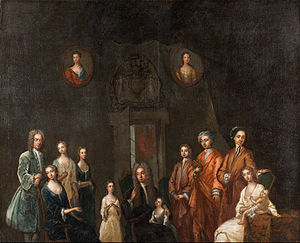 Family in early modern Scotland - Portrait of Sir Francis Grant, Lord Cullen, and His Family, by John Smybert (1688–1751)