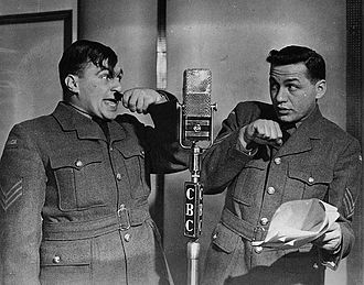Wayne and Shuster - The pair doing a radio broadcast during the Second World War.
