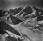 Johns Hopkins Glacier, tidewater glacier, mountain glaciers and icefall, September 12, 1973 (GLACIERS 5505).jpg