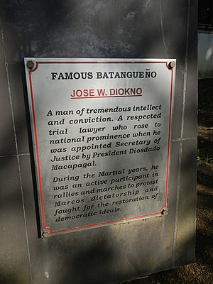Jose Diokno - Image: Jose Diokno plaque at the Historical Park