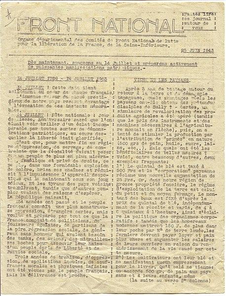 File:Journal départemental du Front national (Résistance). Seine-Inférieure. 25 juin 1943, p.1.pdf