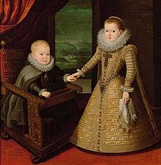 König Philipp IV. von Spanien (1605-1665) in geistlichem Gewand und seiner Schwester Infantin Anna (1601-1666), Bildnis in ganzer Figur