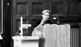 Feminist movements and ideologies - Judith Butler at a lecture at the University of Hamburg.