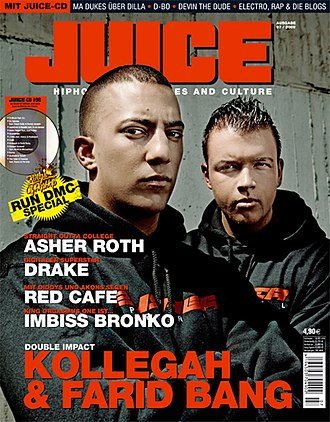 Jung, brutal, gutaussehend - Kollegah and Farid Bang on the cover of the July issue of the Juice (2009)