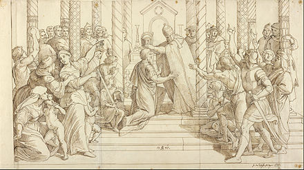 The coronation of Charlemagne on Christmas of 800 helped promote the popularity of the holiday Julius Schnorr von Carolsfeld (German - The Coronation of Charlemagne - Google Art Project.jpg