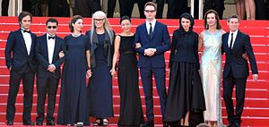 Film director - The main competition jury at the Cannes Film Festival. Left to right : Gael García Bernal, Jia Zhangke, Sofia Coppola, Jane Campion, Jeon Do-yeon, Nicolas Winding Refn, Leila Hatami, Carole Bouquet and Willem Dafoe