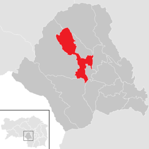 Location of the municipality of Köflach in the Voitsberg district (clickable map)