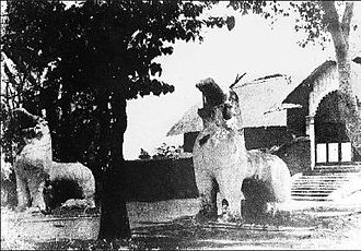 Manipur (princely state) - Kangla Uttra Sang at the Kangla Fort, former residence of the Manipur kings. The two Kangla-Sa Pakhangba dragons standing at the gate were destroyed after the Anglo-Manipur War of 1891 but have been restored in recent years.