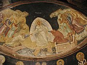 In Harrowing of Hades, fresco in the parecclesion of the Chora Church, Istanbul, c.1315, raising Adam and Eve is depicted as part of the Resurrection icon, as it always is in the East.