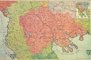 "Macedonian nationalism - Map of Macedonia region on the basis of earlier publication in the newspaper ""Македонскi Голосъ"" of the Saint Petersburg Macedonian Colony, 1913"