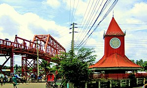Sylhet District - Two landmarks of the city: Keane Bridge and Ali Amjad's Clock