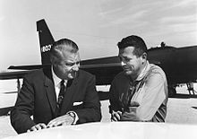 Kelly Johnson and Gary Powers in front of a Lockheed U-2IU-2 plane.