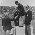 Kelpo Gröndahl, Karl-Erik Nilsson, Ibrahim Orabi 1948.jpg
