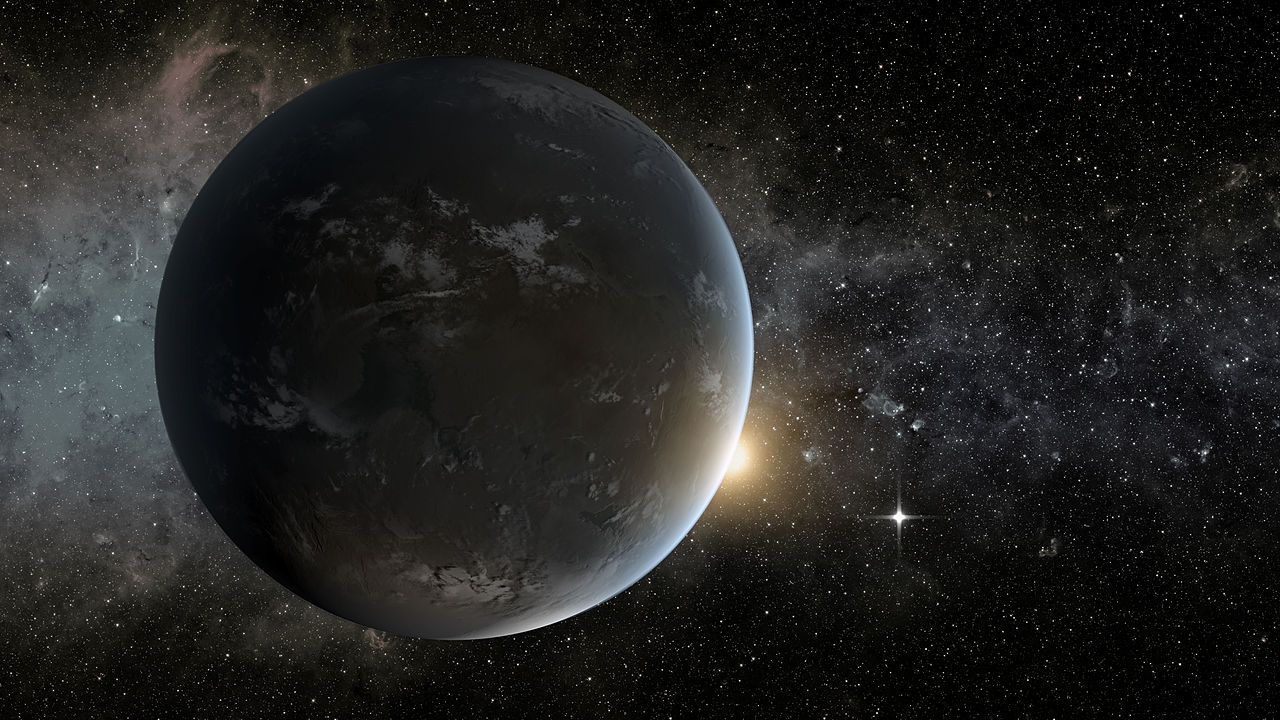 (Top caption: An artist's conception of Kepler-62f, a super-Earth-sized planet that orbits a star smaller and cooler than the sun, located about 1,200 light-years from Earth in the constellation Lyra. The small shining object seen to the right of Kepler-62f is Kepler-62e, which is roughly 60 percent larger than Earth.