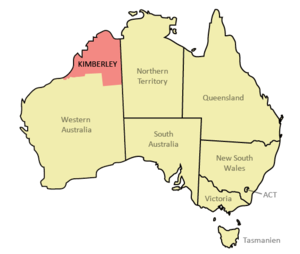 English: Location of the Kimberley region in A...