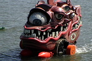 Kinetic sculpture race - Duane Flatmo's Extreme Makeover crosses Humboldt Bay during the 2005 Grand Championship