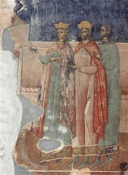 King Levan of Kakheti and his wife Tinatin (Akhali Shuamta fresco).jpg