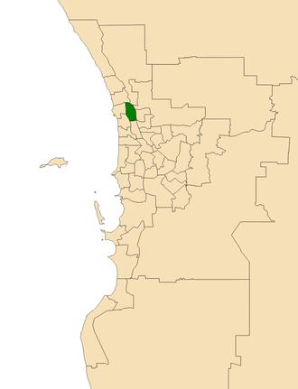 Electoral district of Kingsley - Location of Kingsley (dark green) in the Perth metropolitan area