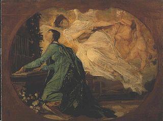 Entwurf für die Allegorie der Musik (Orgelspielerin)
