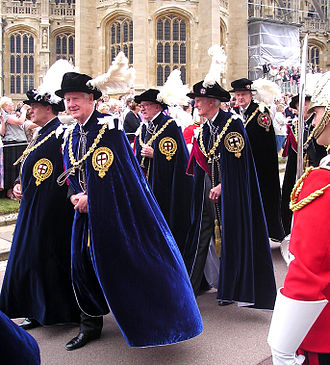 Order of the Garter - Knights Companion in the procession to St George's Chapel, Windsor Castle for the Garter Service