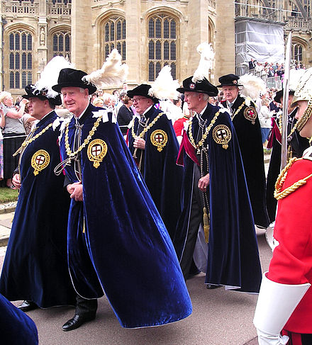 Knights Companion in the procession to St George's Chapel, Windsor Castle for the Garter Service Knights Companion of the Garter.JPG