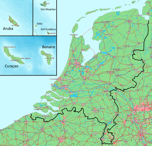 Dissolution of the Netherlands Antilles - Map of the Kingdom of the Netherlands. The Netherlands and the Caribbean islands are to the same scale.