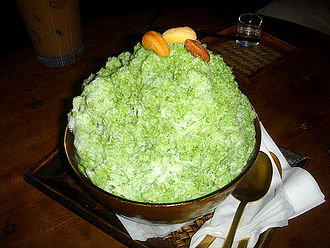 Green tea ice cream - Image: Korean shaved ice Green tea bingsu 07