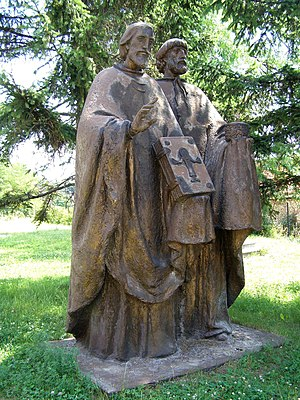 Rastislav of Moravia - Modern sculpture of Saints Cyril (Constantine) and Methodius