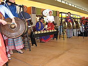 The five instruments of gongs and a drum that make up the Philippine kulintang ensemble, an example of pre-Hispanic musical tradition present in southern Philippines