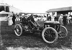 Léon Molon in his Werner at the 1908 Grand Prix des Voiturettes at Dieppe.jpg