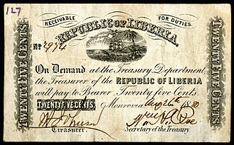 Liberian dollar - Twenty-five cent note (1880), previously unknown as a denomination.