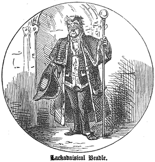 Beadle An officer of a church or synagogue