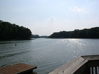 Lake Hartwell - A finger of the lake extends into Clemson, SC.