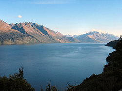 Lake Wakatipu, one of the lakes in the district
