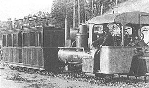 Lartigue Monorail - A locomotive and passenger car of the Feurs-Panissières Line, France