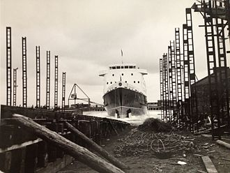 MV Mona's Queen (1971) - Mona's Queen is launched at Troon. 22nd December, 1971.
