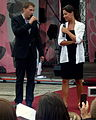 Laura Samojłowicz with MC at Meeting of Fans of the TV series 'M jak miłość' in Gdynia 2009 - 1.jpg