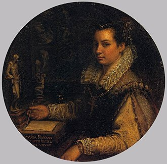 Lavinia Fontana - Self-Portrait in the Studiolo, 1579, Oil on copper, dia. 15.7 cm, Uffizi Gallery, Florence