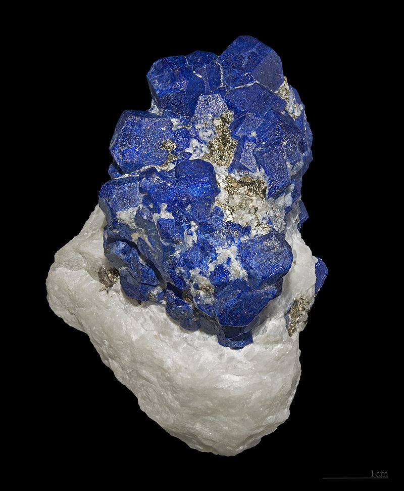 A chunk of lapis lazuli, which is a striking royal blue stone, with lumps of white quartz-like rock around it.