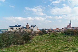Leisnig - Skyline of Leisnig, Mildenstein Castle to the left