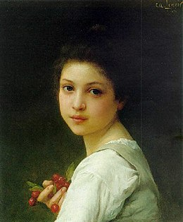 Lenoir, Charles-Amable - Portrait of a young girl with cherries.jpg