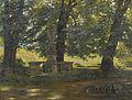 Leo Reiffenstein Sommerlicher Park mit barocker Heiligenstatue.jpg