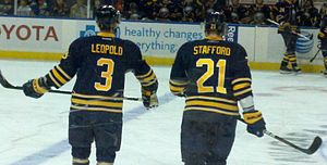 Drew Stafford - Stafford skating with teammate Jordan Leopold in 2011